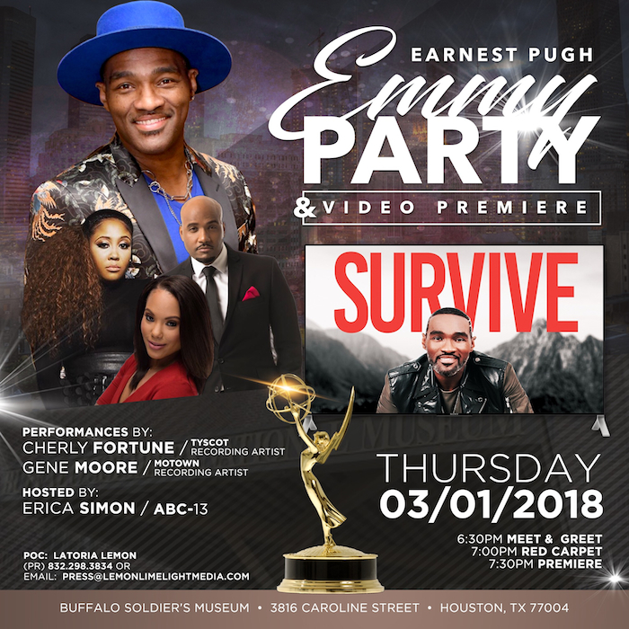 """EARNEST PUGH TO HOST EMMY PARTY AND VIDEO PREMIERE OF TOP 15 RADIO HIT """"SURVIVE"""""""